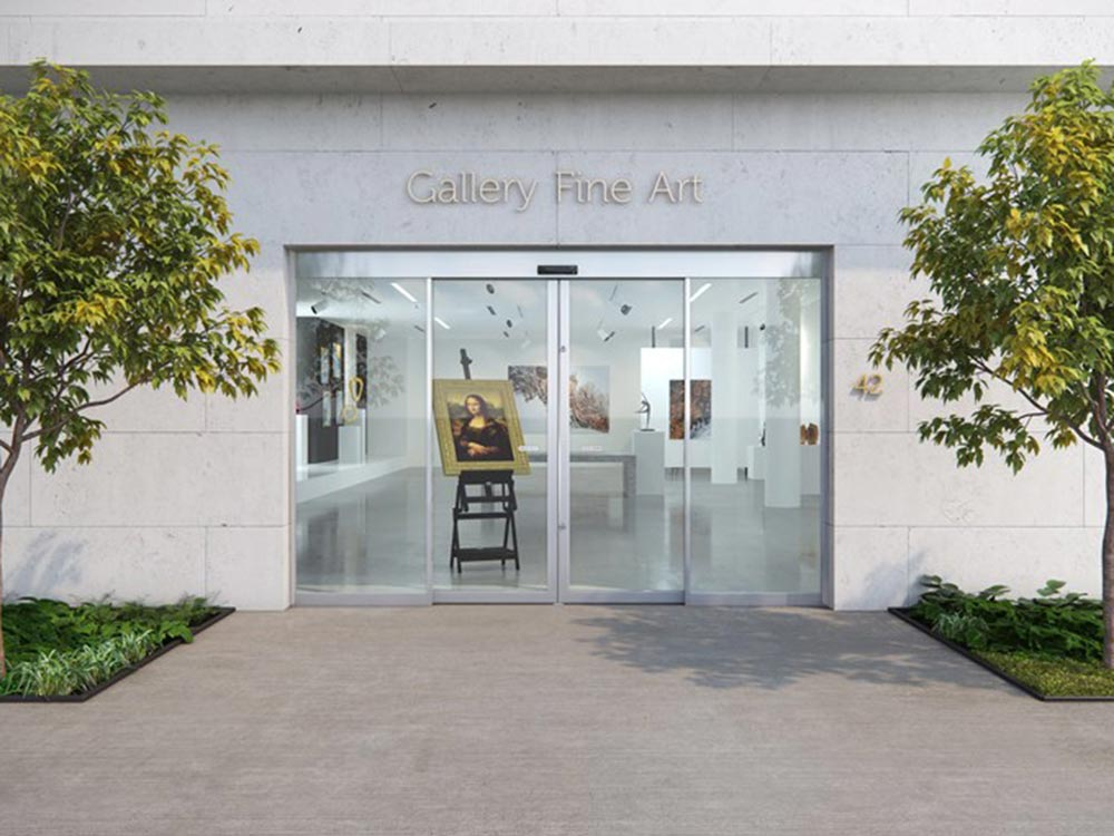 Art gallery entrance intrusion protection sliding door