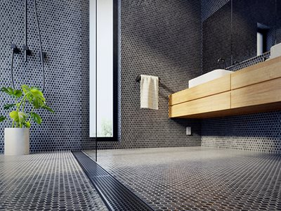 Black Tiled Residential Bathroom Interior Wooden Vanity Black Grate