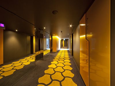 Photo of Lift Corridor with Gray and Yellow Carpet in Apartment Building