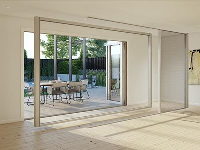 Internal view of Freedom retractable screens for large openings