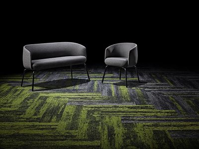 Signature floors textured directional carpet planks in green and gray