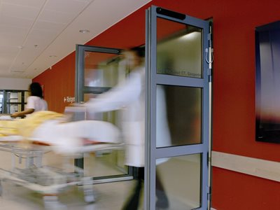 Hospital interior with swing door system