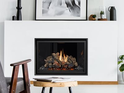 Lopi minimal finish gas fireplace in living room interior