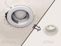 Resizing and flush mounting kits for downlights