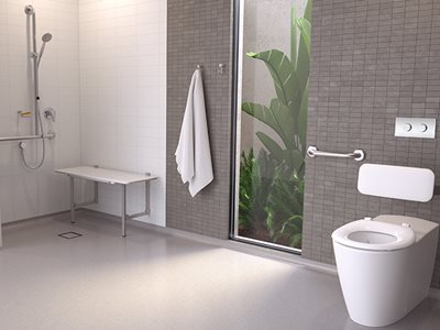 Caroma Care Collection accessible aged care bathroom interior