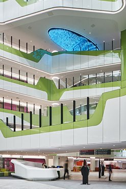 Portrait image of Perth Children's Hospital atrium space featuring Corian design