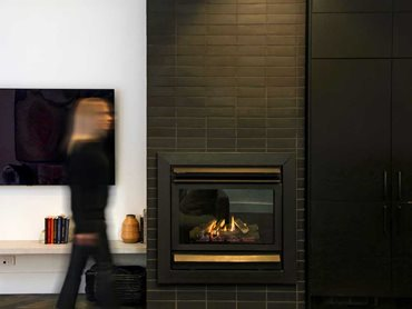 Morada Nero Standard was applied to the wall of the fireplace and feature column