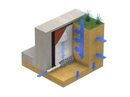 VersiDrain®8 Geo Sheet for drainage of basement and retaining walls