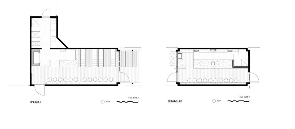 Sans Arc Studio slot timber-clad bar, courtyard and