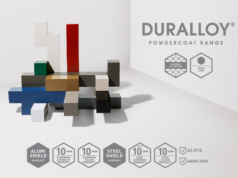 Duralloy offers subtle and neutral solid colours including the Colorbond® steel standard colour range