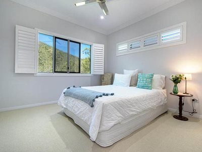 residential interior bedroom window screening