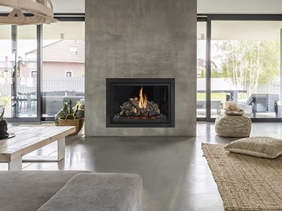 Lopi minimal finish gas fireplace in modern living room interior