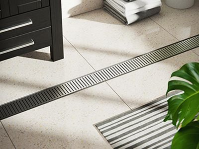 Detailed image of Stormtech bathroom linear drainage grate
