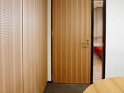 Acoustic timber wall meeting room interior