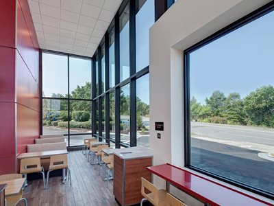 Cafe interior with solar glazing