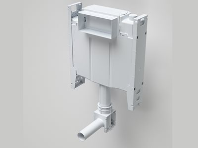 Detailed flush mechanism of Caroma concealed cistern with adjustable flushpipe