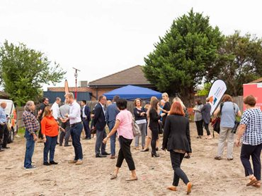 More than 35 people turned out for the PIF House Clayton sod turning event.