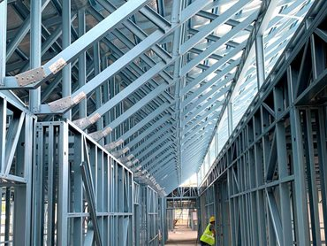 SBS' steel framing achieved the large spans and irregular shaped trusses