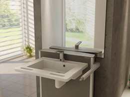Adjustable wash basin heights make for a practical solution when wheelchairs users are the main audience