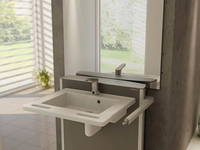 adjustable wash basin concrete wall