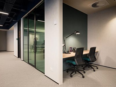 Autex Symphony acoustic wall covering in commercial office setting