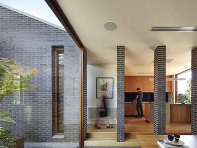 Residential home interior with brick cladding