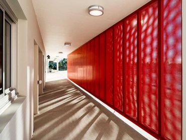 Red perforated metal panels