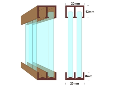 Detailed cross section of glass window system