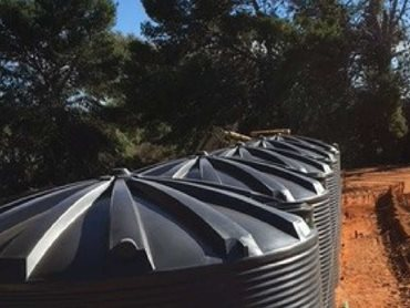 Rainwater tanks from Polymaster featuring an attractive Aussie corrugated profile