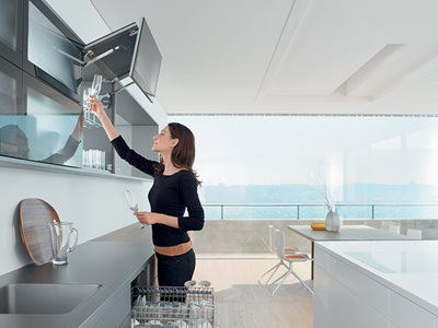 AVENTOS Over Head Cabinet Hinge Solution Residential Kitchen