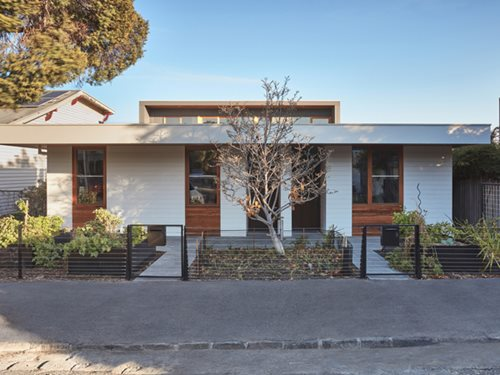 Clifton Hill Terraces front facade off-grid townhouses
