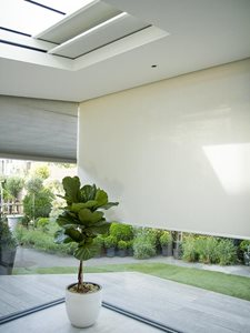 BLINDSPACE Concealed blinds in window gable and skylight drawn