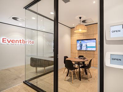 Eventbrite interior with acoustic wall panels