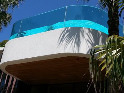 second floor curved swimming pool edge