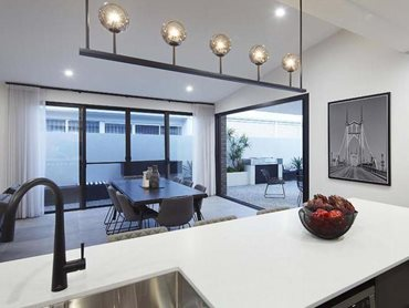 Carinya cavity sliding doors are ideal for integrating indoor-outdoor spaces (Glass Co Metro WA)