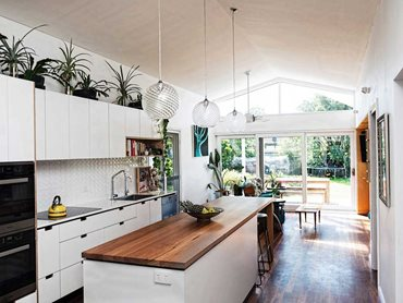 The renovated kitchen at the Russell Vale Reno House (Photo by Petri Kurkaa)