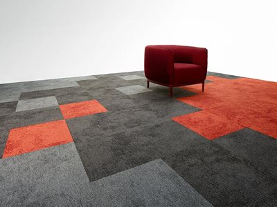Pixel grey and orange carpet tiles