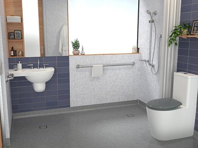 Caroma Care Collection ages care bathroom products insitu bathroom interior