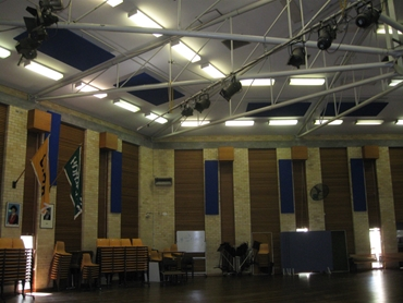 PQ Panels in a school hall from ​ Peace and Quiet Insulation