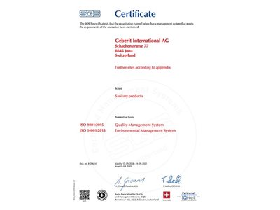 Geberit sustainability solutions ISO Certificate
