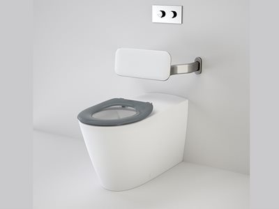 Caroma concealed cistern with adjustable flushpipe toilet suite with back support
