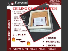 2-way fire rated - Screw fixed: Ceiling/wall 1 hour, 90 minute & 2 hour FYREPANEL