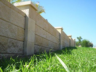 Detailed image of concrete masonry fence system