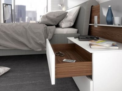 White Drawer Timber Lining Open Bedroom Interior