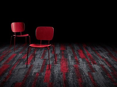 Signature floors textured directional carpet planks in red and gray