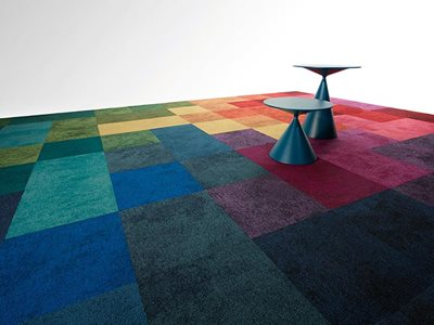 Pixel multi coloured carpet tiles