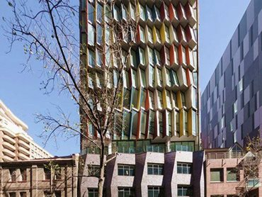 The facade has been created using parametric modelling to maximise the environmental performance of the building.