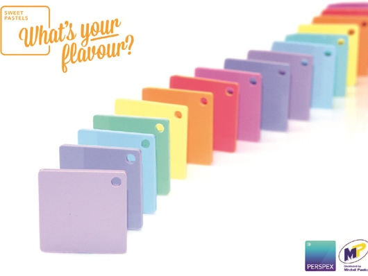 Perspex® sweet pastels range in 8 colours