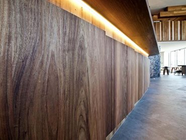 The feature zig-zag half wall made from Tasmanian Blackwood