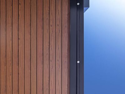 Decowood timber detailing with black steel